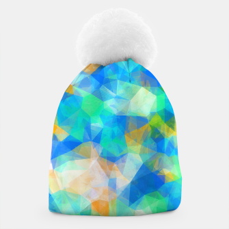 Thumbnail image of geometric triangle pattern abstract background in blue green orange Beanie, Live Heroes