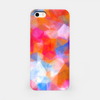 Thumbnail image of geometric triangle pattern abstract background in orange pink blue iPhone Case, Live Heroes