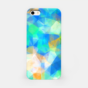 Thumbnail image of geometric triangle pattern abstract background in blue green orange iPhone Case, Live Heroes