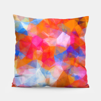 Thumbnail image of geometric triangle pattern abstract background in orange pink blue Pillow, Live Heroes