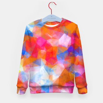 Thumbnail image of geometric triangle pattern abstract background in orange pink blue Kid's sweater, Live Heroes