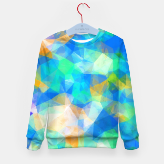 Thumbnail image of geometric triangle pattern abstract background in blue green orange Kid's sweater, Live Heroes