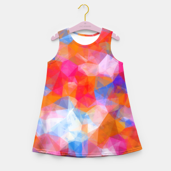 Thumbnail image of geometric triangle pattern abstract background in orange pink blue Girl's summer dress, Live Heroes