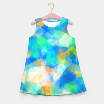Thumbnail image of geometric triangle pattern abstract background in blue green orange Girl's summer dress, Live Heroes