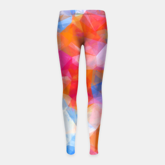 Thumbnail image of geometric triangle pattern abstract background in orange pink blue Girl's leggings, Live Heroes