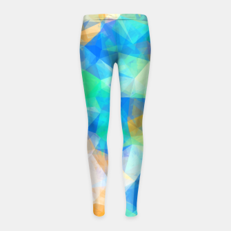 Thumbnail image of geometric triangle pattern abstract background in blue green orange Girl's leggings, Live Heroes
