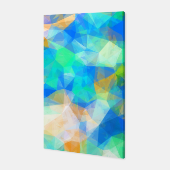 Thumbnail image of geometric triangle pattern abstract background in blue green orange Canvas, Live Heroes