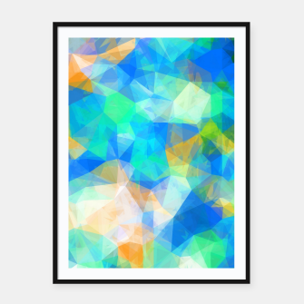 Thumbnail image of geometric triangle pattern abstract background in blue green orange Framed poster, Live Heroes