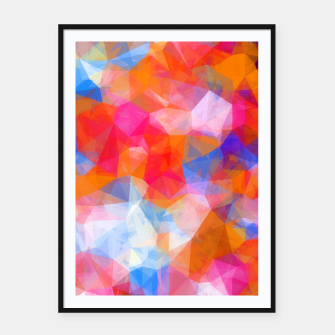 Thumbnail image of geometric triangle pattern abstract background in orange pink blue Framed poster, Live Heroes