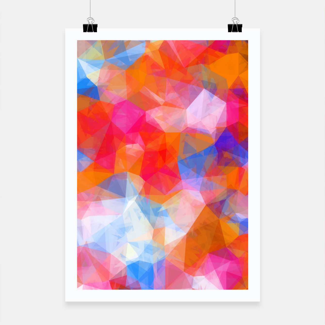 Foto geometric triangle pattern abstract background in orange pink blue Poster - Live Heroes