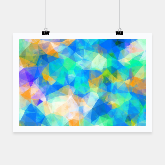 Thumbnail image of geometric triangle pattern abstract background in blue green orange Poster, Live Heroes