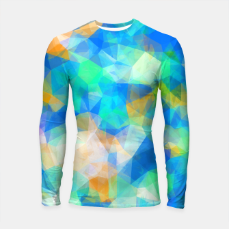 Thumbnail image of geometric triangle pattern abstract background in blue green orange Longsleeve rashguard , Live Heroes