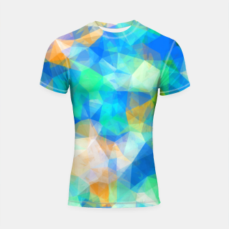 Thumbnail image of geometric triangle pattern abstract background in blue green orange Shortsleeve rashguard, Live Heroes