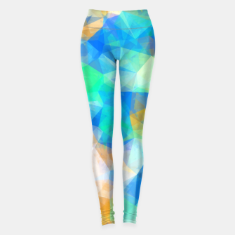 Thumbnail image of geometric triangle pattern abstract background in blue green orange Leggings, Live Heroes