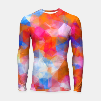 Thumbnail image of geometric triangle pattern abstract background in orange pink blue Longsleeve rashguard , Live Heroes