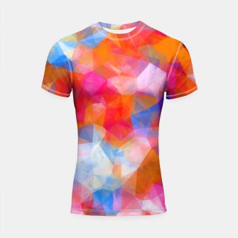 Thumbnail image of geometric triangle pattern abstract background in orange pink blue Shortsleeve rashguard, Live Heroes