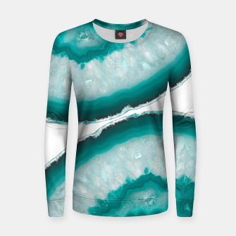 Thumbnail image of Turquoise Teal Agate #1 #gem #decor #art  Frauen sweatshirt, Live Heroes