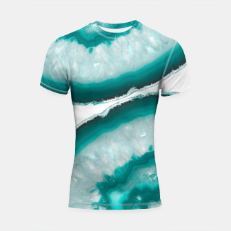 Thumbnail image of Turquoise Teal Agate #1 #gem #decor #art  Shortsleeve rashguard, Live Heroes