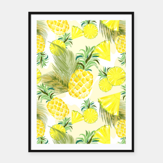Thumbnail image of Pineapple Watercolor Fresh Summer Fruit Framed poster, Live Heroes