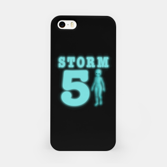 Storm Area 51 Bright Aqua Blue Alien iPhone Case imagen en miniatura