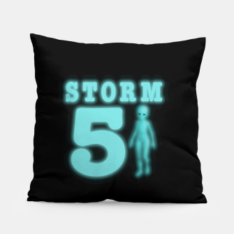 Storm Area 51 Bright Aqua Blue Alien Pillow thumbnail image