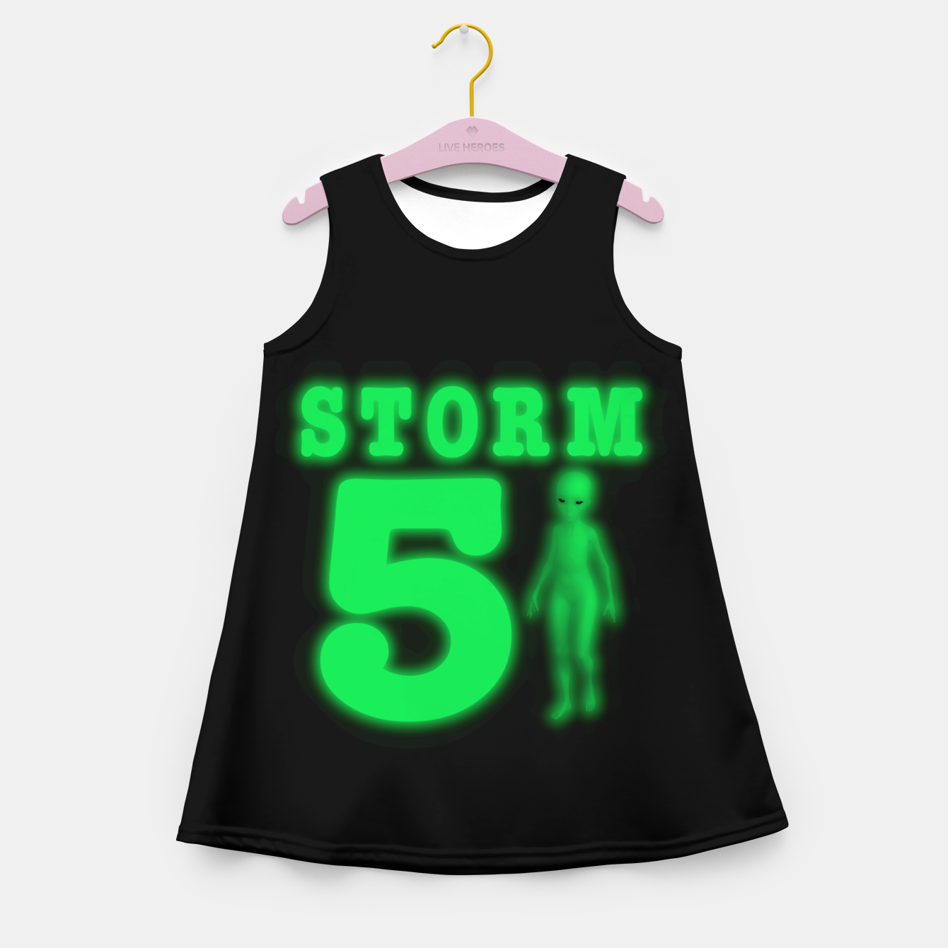 Image of Storm Area 51 Bright Green Alien  Girl's summer dress - Live Heroes