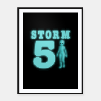 Thumbnail image of Storm Area 51 Bright Aqua Blue Alien Framed poster, Live Heroes