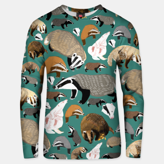 Thumbnail image of Badgers pattern in teal Sudadera unisex, Live Heroes