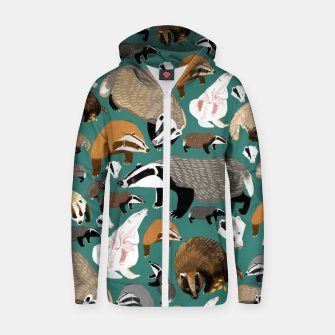 Thumbnail image of Badgers pattern in teal Sudadera con capucha y cremallera , Live Heroes