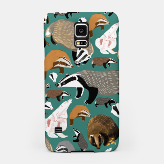 Thumbnail image of Badgers pattern in teal Carcasa por Samsung, Live Heroes
