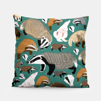 Thumbnail image of Badgers pattern in teal Almohada, Live Heroes