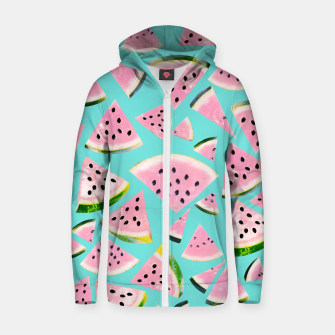 Thumbnail image of Watermelon Twist Vibes #2 #tropical #fruit #decor #art  Reißverschluss kapuzenpullover, Live Heroes