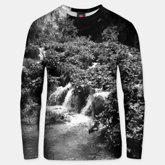 cascades at plitvice lakes national park croatia bw Unisex sweater thumbnail image