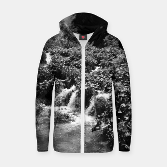 cascades at plitvice lakes national park croatia bw Zip up hoodie thumbnail image