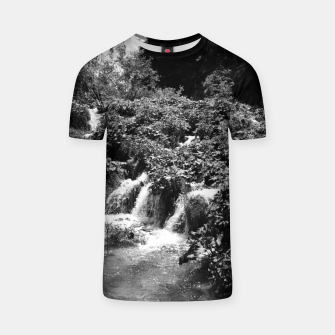 cascades at plitvice lakes national park croatia bw T-shirt thumbnail image