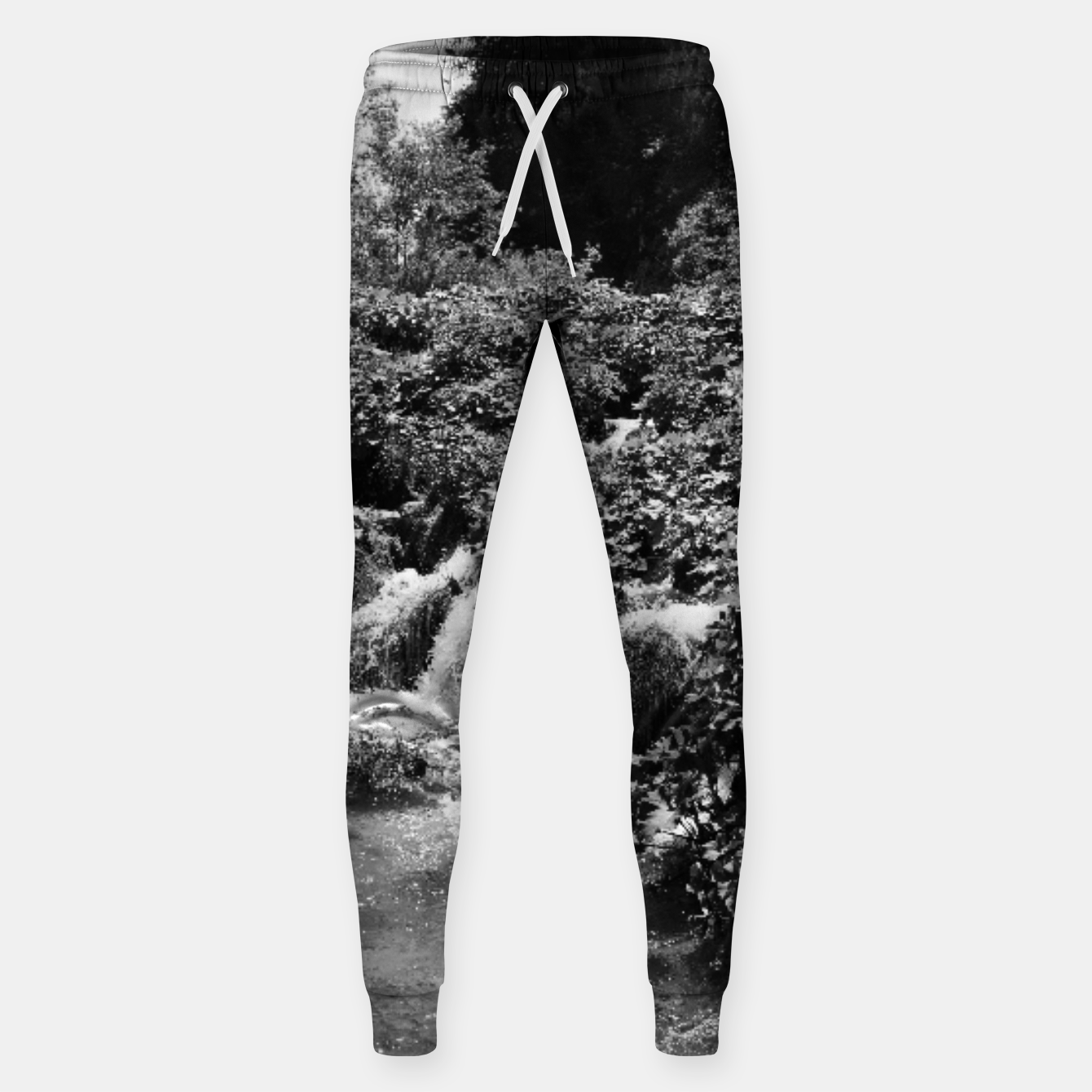 Image of cascades at plitvice lakes national park croatia bw Sweatpants - Live Heroes