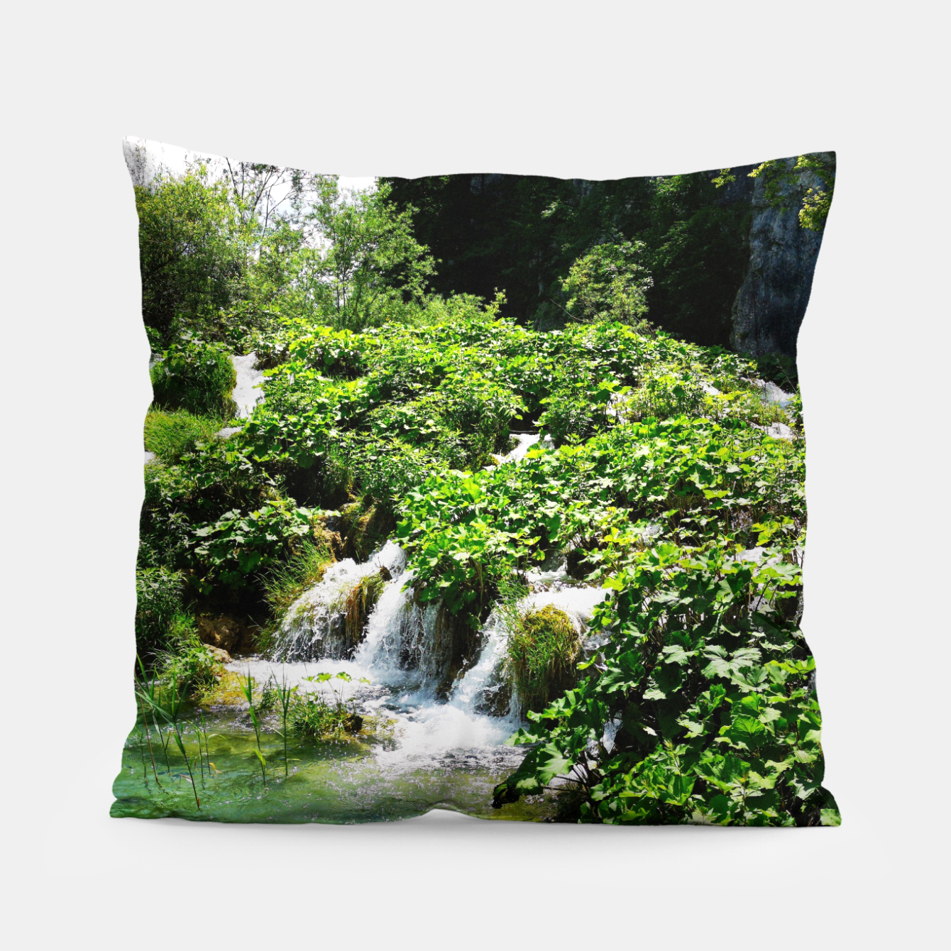 Image of cascades at plitvice lakes national park croatia std Pillow - Live Heroes