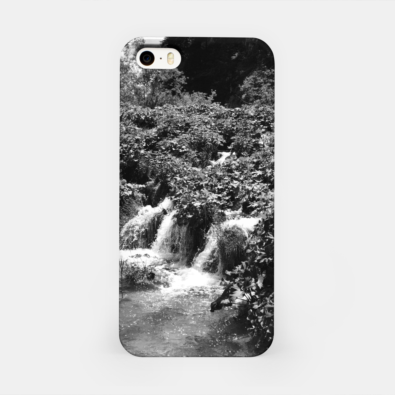 Image of cascades at plitvice lakes national park croatia bw iPhone Case - Live Heroes