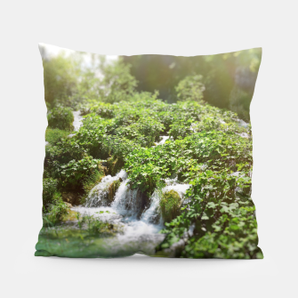 Thumbnail image of cascades at plitvice lakes national park croatia sunrays Pillow, Live Heroes
