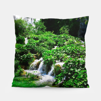 Thumbnail image of cascades at plitvice lakes national park croatia vibrant Pillow, Live Heroes