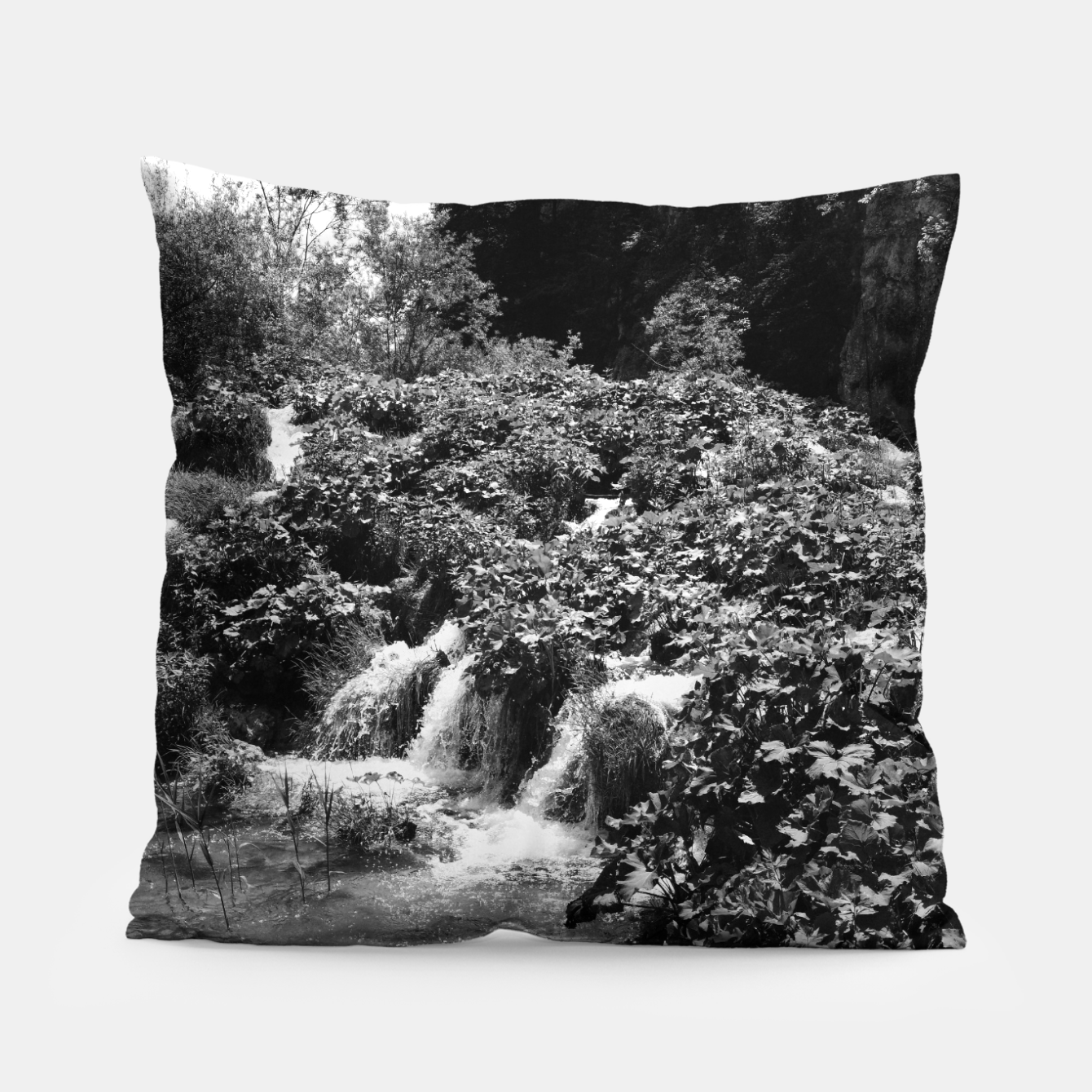 Image of cascades at plitvice lakes national park croatia bw Pillow - Live Heroes