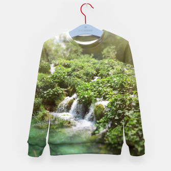 Thumbnail image of cascades at plitvice lakes national park croatia sunrays Kid's sweater, Live Heroes