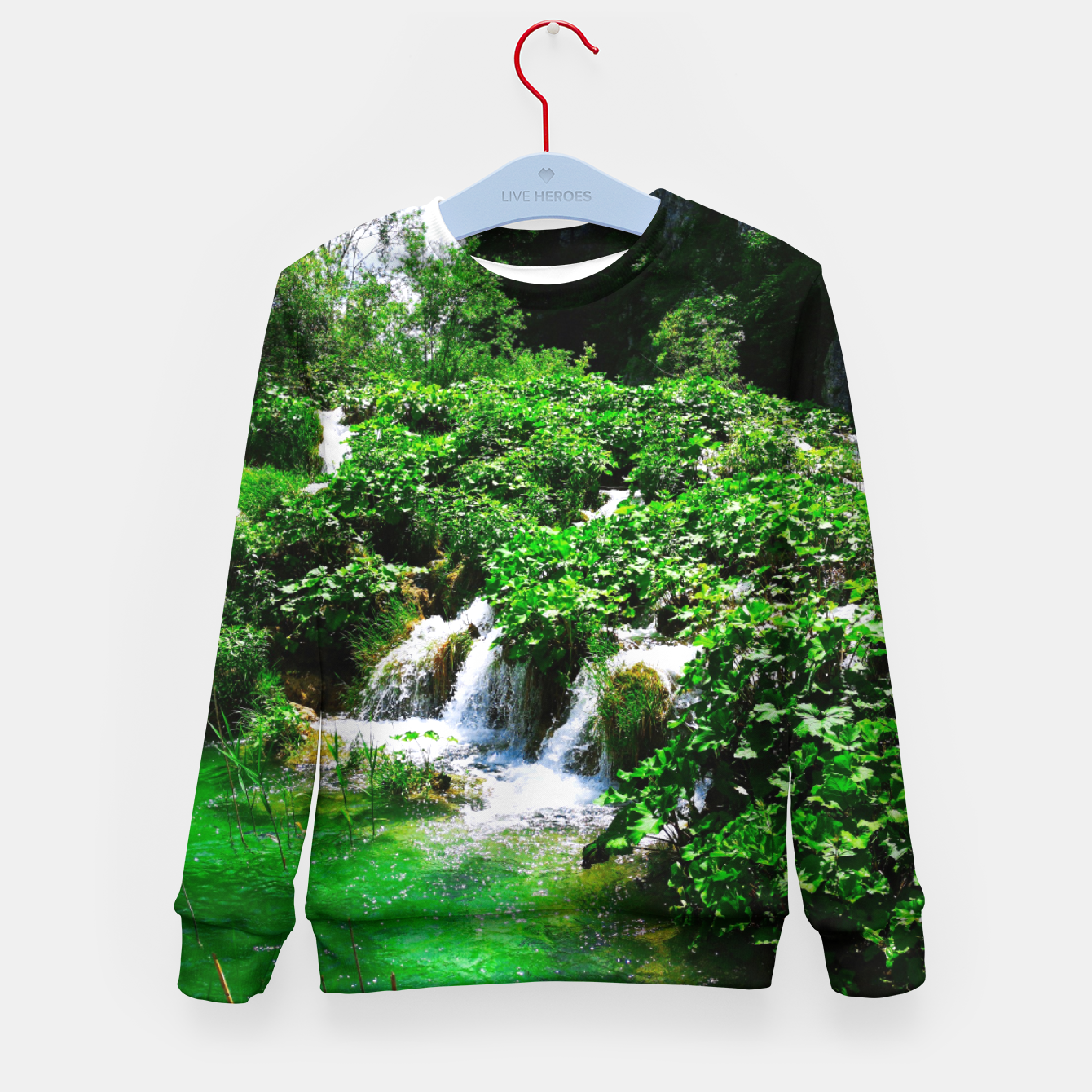 Image of cascades at plitvice lakes national park croatia vibrant Kid's sweater - Live Heroes