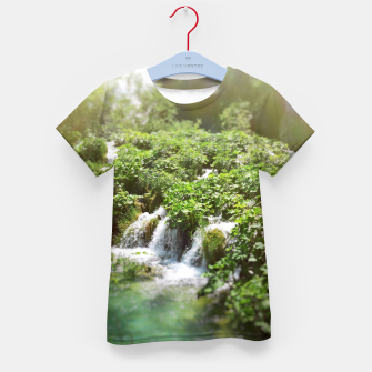 Thumbnail image of cascades at plitvice lakes national park croatia sunrays Kid's t-shirt, Live Heroes