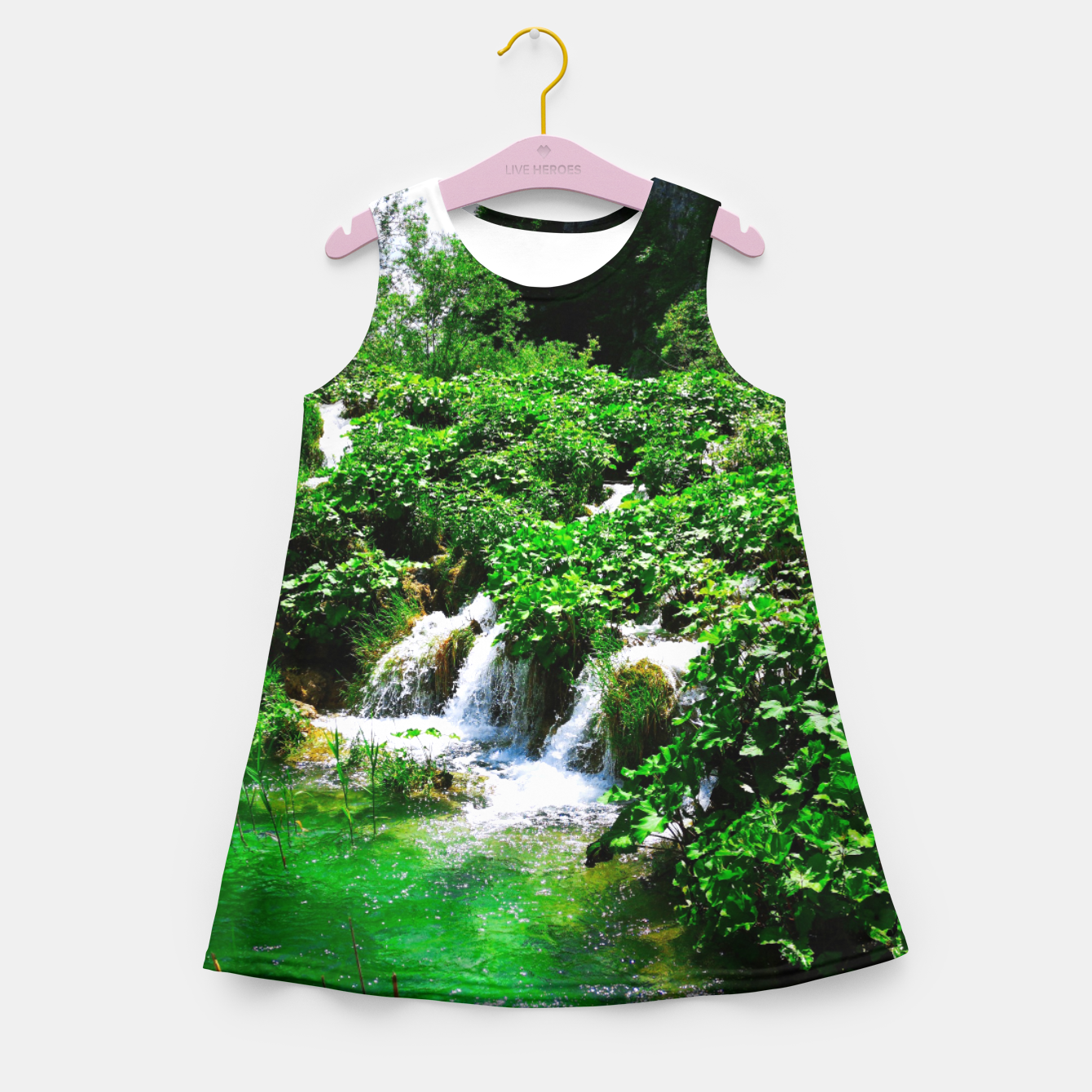 Image of cascades at plitvice lakes national park croatia vibrant Girl's summer dress - Live Heroes