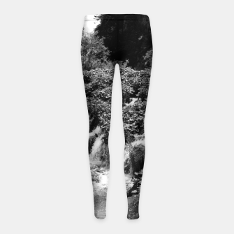 Thumbnail image of cascades at plitvice lakes national park croatia bw Girl's leggings, Live Heroes