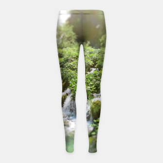 Thumbnail image of cascades at plitvice lakes national park croatia sunrays Girl's leggings, Live Heroes