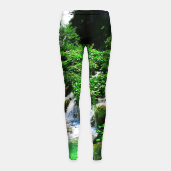 Thumbnail image of cascades at plitvice lakes national park croatia vibrant Girl's leggings, Live Heroes