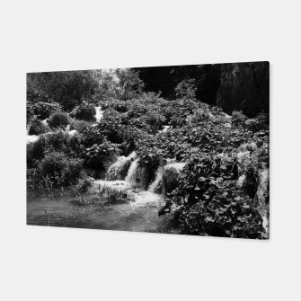 cascades at plitvice lakes national park croatia bw Canvas thumbnail image