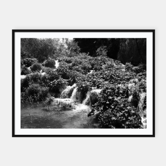Thumbnail image of cascades at plitvice lakes national park croatia bw Framed poster, Live Heroes